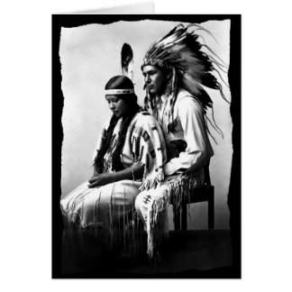 Native American Love couple Bannock Tribe Vintage Greeting Card