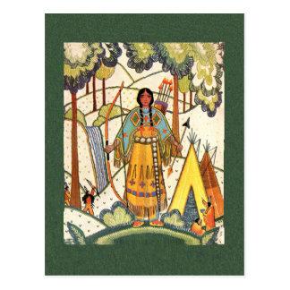 Native American Maiden PostCard