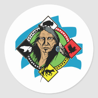Native American Medicine Wheel Classic Round Sticker