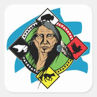 Native American Medicine Wheel Square Sticker
