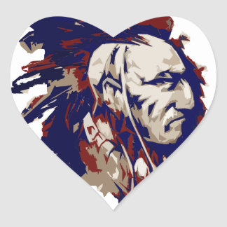 Native American Mohawk Heart Sticker