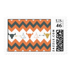 Native American Navajo Chevron Teepee Arrow Skulls Stamp