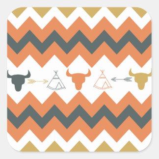 Native American Navajo Chevron Teepee Arrow Skulls Square Sticker
