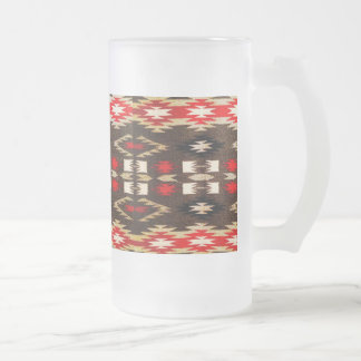 Native American Navajo Tribal Design Print Frosted Glass Beer Mug