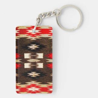 Native American Navajo Tribal Design Print Double-Sided Rectangular Acrylic Keychain