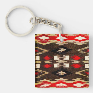 Native American Navajo Tribal Design Print Double-Sided Square Acrylic Keychain
