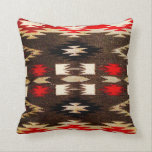 "Native American Navajo Tribal Design Print Throw Pillow<br><div class=""desc"">Native American Navajo Tribal Design Print in a southwestern red and brown color sheme.  This is just a printed design,  it is not actually woven.</div>"