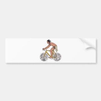 Native American On Bike W/ Buffalo Head Coin Wheel Bumper Sticker