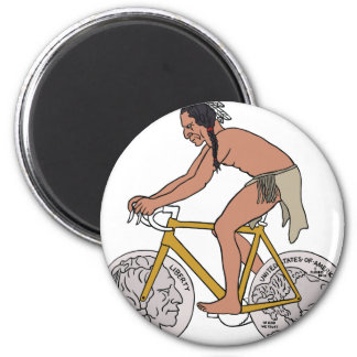 Native American On Bike W/ Buffalo Head Coin Wheel Magnet