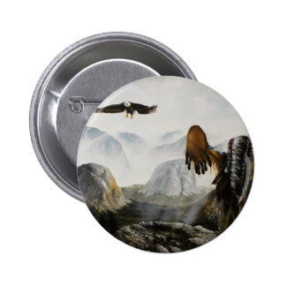 Native American Painting~ Welcome Friend 2 Inch Round Button