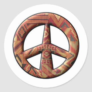 Native American Peace Sign Classic Round Sticker