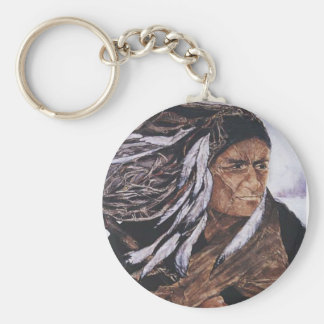 Native American Peacekeeper Basic Round Button Keychain