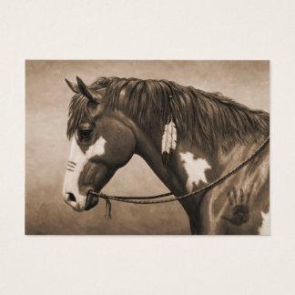 Native American Pinto War Horse in Sepia Business Card