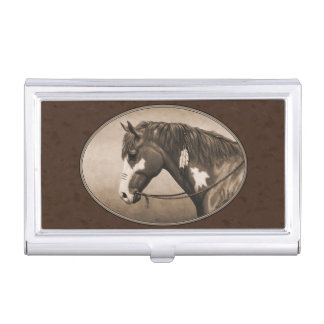 Native American Pinto War Horse in Sepia Case For Business Cards