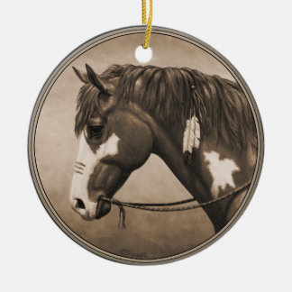 Native American Pinto War Horse in Sepia Ceramic Ornament