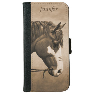 Native American Pinto War Horse in Sepia iPhone 6/6s Wallet Case