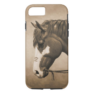 Native American Pinto War Horse in Sepia iPhone 8/7 Case