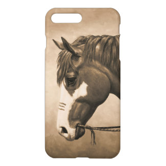 Native American Pinto War Horse in Sepia iPhone 8 Plus/7 Plus Case