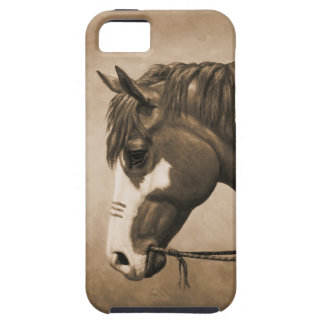 Native American Pinto War Horse in Sepia iPhone SE/5/5s Case