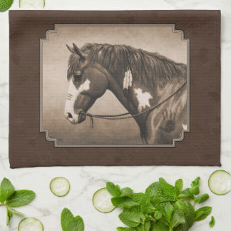 Native American Pinto War Horse in Sepia Kitchen Towels