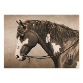 Native American Pinto War Horse in Sepia Large Business Cards (Pack Of 100)