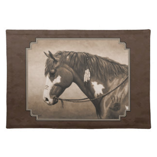 Native American Pinto War Horse in Sepia Placemat