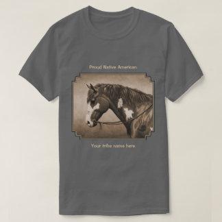 Native American Pinto War Horse in Sepia T-Shirt