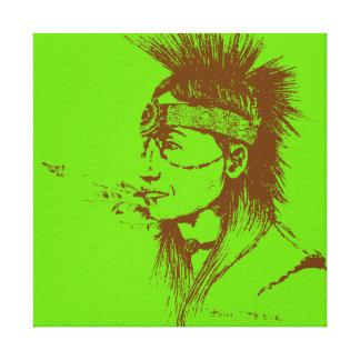 NATIVE AMERICAN POP-ART GREEN CANVAS PRINT