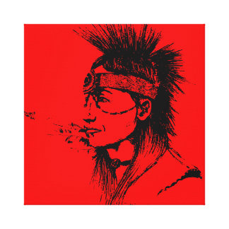 NATIVE AMERICAN POP-ART RED CANVAS PRINT