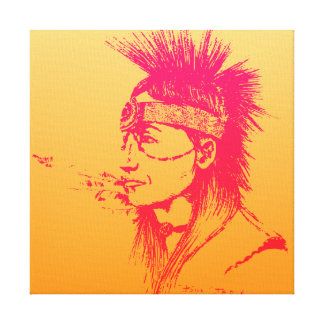 NATIVE AMERICAN POP-ART YELLOW & PINK CANVAS PRINT