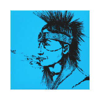 NATIVE AMERICAN - POP-CULTURE BLUE CANVAS PRINT