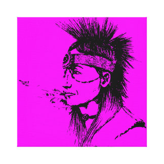 NATIVE AMERICAN - POP-CULTURE PINK CANVAS PRINT