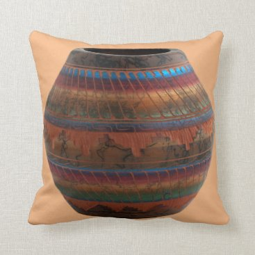 sterlingnights Native American Pottery terracotta blue red green Throw Pillow