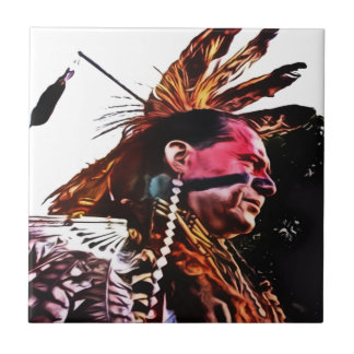 Native American prepares to dance Ceramic Tile