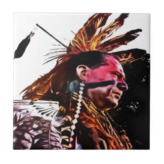 Native American prepares to dance. Tile