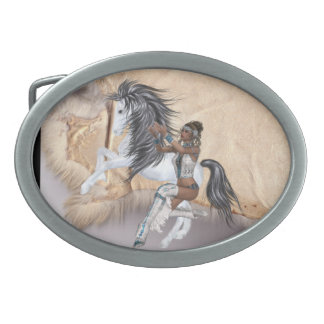 Native American Princess and Horse Design Belt Buc Oval Belt Buckle