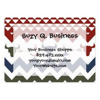 Native American Red Blue Chevron Tipi Skulls Arrow Business Card Template