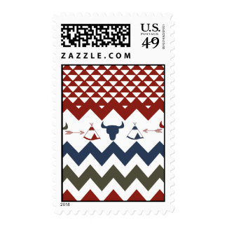 Native American Red Blue Chevron Tipi Skulls Arrow Postage Stamps