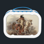 """Native American Rider Lunch Box<br><div class=""""desc"""">A native American on horseback  decorates this handy lunch box</div>"""