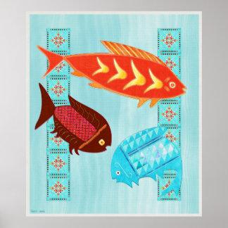 Native American River Folk Art Poster