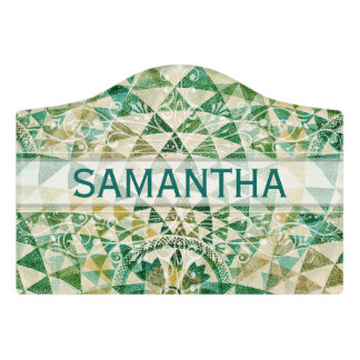 Native American seamless fabric pattern green Door Sign