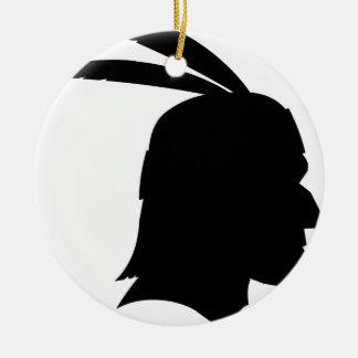 Native American Silhouette Ceramic Ornament