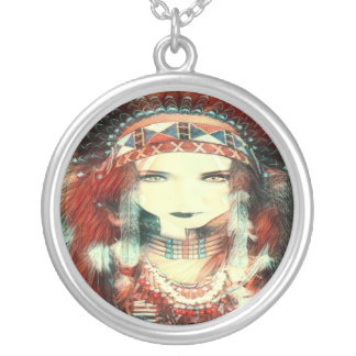 native american silver plated necklace