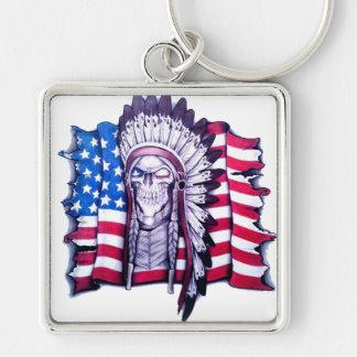 Native American skull and American flag key chain