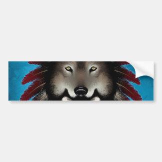 Native American Skull with Wolf by Thomas Mason Bumper Sticker