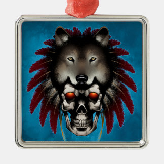 Native American Skull with Wolf by Thomas Mason Metal Ornament