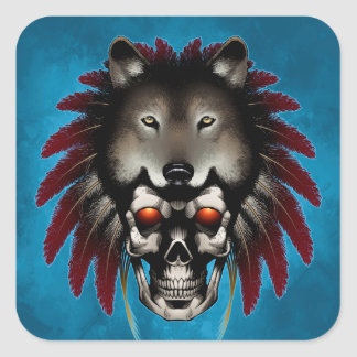 Native American Skull with Wolf by Thomas Mason Square Sticker