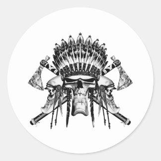 Native American Skulls Classic Round Sticker