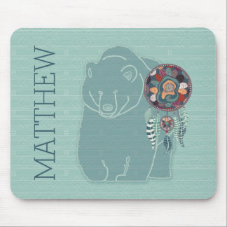 Native American Spirit Bear with Name Mouse Pad