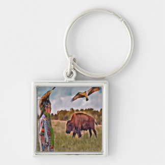 Native American Square Keychain
